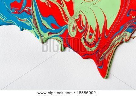 Liquid marbling paint flow on white background. Fluid painting abstract texture. Colorful mix of acrylic vibrant colors. poster