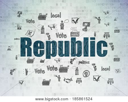 Political concept: Painted blue text Republic on Digital Data Paper background with  Hand Drawn Politics Icons