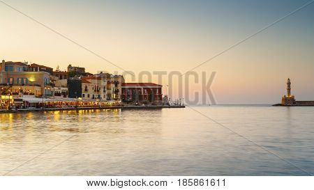 CHANIA, GREECE - APRIL 13, 2017: Old Venetian harbor of Chania town on Crete island, Greece on April 13, 2017.