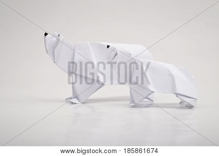 White Polar bear origami with white background