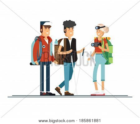 Set of female and male character, hiking tourists walk. A young people engaged in active sports. Vector illustration of a flat design