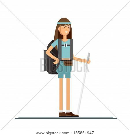 Femal character, hiking tourist walk. A young woman engaged in active sport. Vector illustration of a flat design
