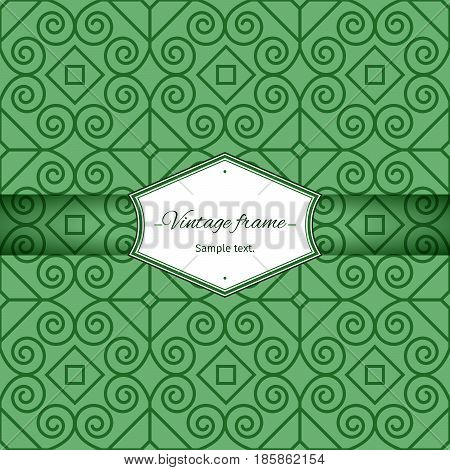 Green seamless geometric patterns with vintage frame, vector illustration