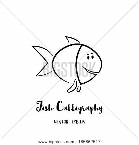 Fish calligraphy emblem. Vector abstract animal sign in lettering style