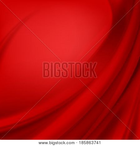 Vector Red Satin Silky Cloth Fabric Textile Drape with Crease Wavy Folds. Abstract Background poster