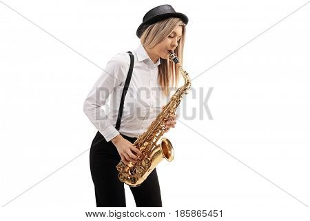 Female jazz musician playing a saxophone isolated on white background