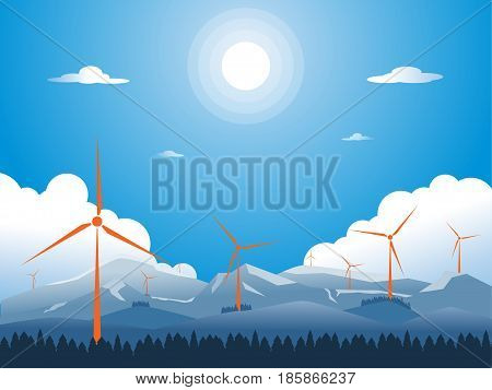 lanscape flat mountain with wind turbine concept clean energy. vector illustration.