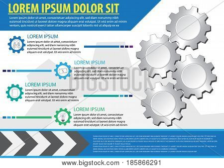 infographic gear is business driving force. vector illustration