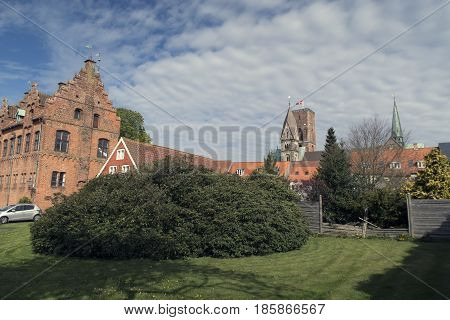 Cathedral and old houses from royal town Ribe in Denmark