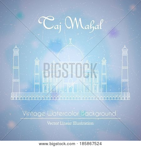 Taj Mahal Temple in India. Vector linear illustration on watercolor background
