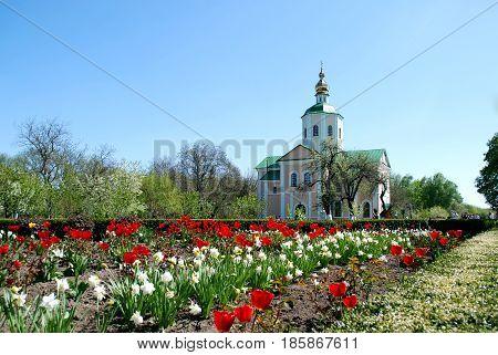 Church old christian daylight time sky flowers
