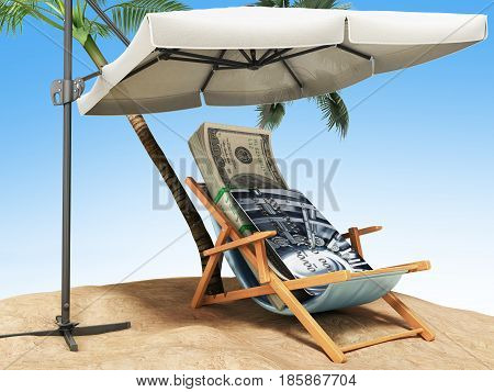 Concept Of A Credit Vacation Concept Travel One Hundred Dollar Bills On A Deckchair Under An Umbrell