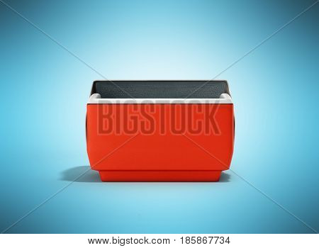 Open Refrigerator Box Red 3D Render On Blue Background