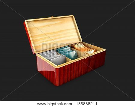 3d illustration Wood box packaging for tea and tea bags. isolated black