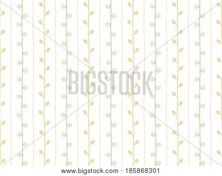 Seamless nature sketch vector pattern. Beige and white pastel fabric twig background. Hand drawn branch texture illustration