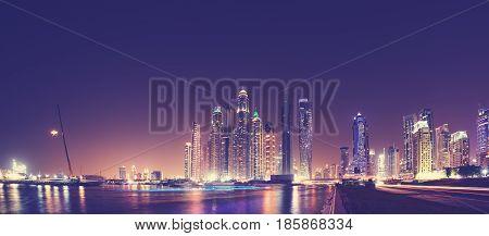 Fisheye Lens Panoramic Picture Of Dubai Waterfront Skyline At Night, Uae.