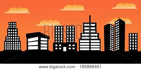 illustration of urban skylines with colored background