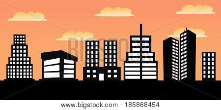 Vector illustration of urban skylines with colored background