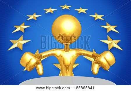 European Union Concept With The Original 3D Character Illustration