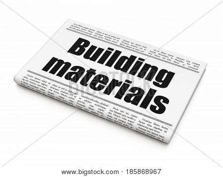 Construction concept: newspaper headline Building Materials on White background, 3D rendering