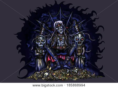Illustration fable prince of darkness. He sits on a throne by a gold pile with two servants acolytes