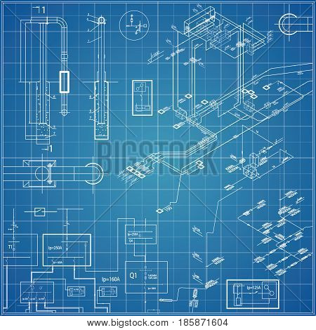 Vector blueprint with electrical schemes. Blue background, white mesh