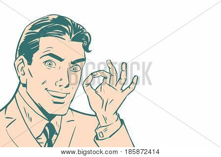 OK gesture of businessman, isolated background, pop art retro vector illustration. OK sign