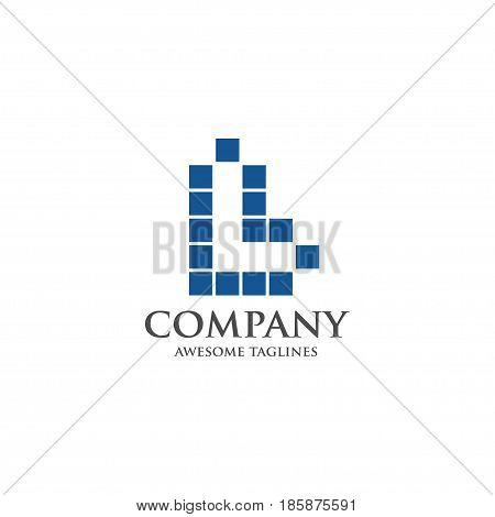 Best letter L logo square concept, Letter L vector logo symbol in square with shattered blocks. Vector template for your design