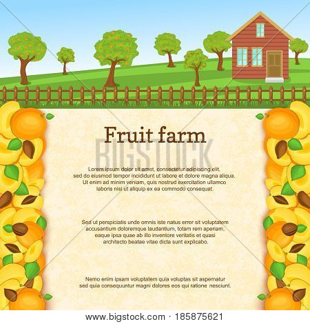 Vector illustration of a fruit farm. Juicy apricots fruit border. House, fence, fruit, trees, background with paper texture for menu design, juice packaging, breakfast, diet, detox
