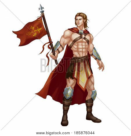 Cool Character: Beautiful Man, Standard bearer, War God isolated on White Background. Video Game's Digital CG Artwork, Concept Illustration, Realistic Cartoon Style Background and Character Design