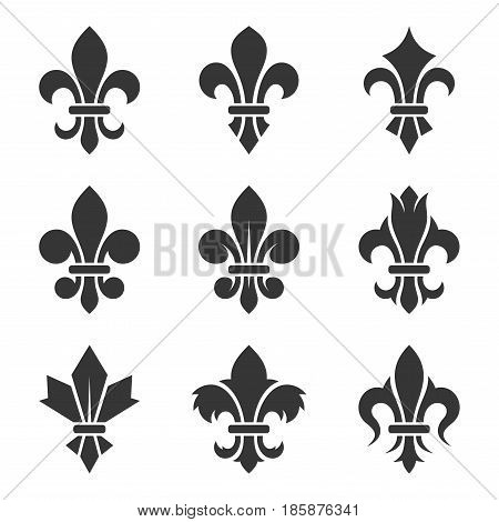Fleur de lis Set on White Background. Vector