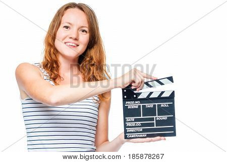 Red-haired Actress And Movie Clapper In Hand On White Background