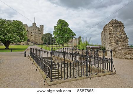 View of the Castle from the Esplanade on the Castle Hill with Spring colors and cloudy sky in Rochester, UK