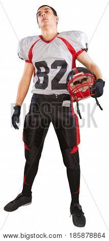 Football Player Standing and Holding Football Helmet - Isolated