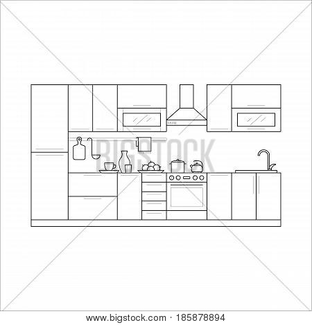 Kitchen furniture in thin line style. Set with fridge, cupboard, hood and shelves, stove and fridge. Linear flat vector house interior - illustration isolated on background.