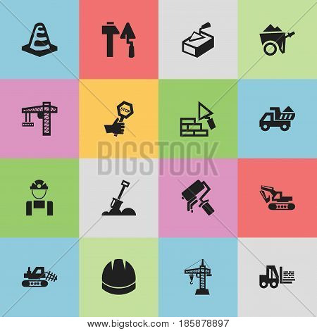 Set Of 16 Editable Construction Icons. Includes Symbols Such As Lifting Equipment, Handcart , Notice Object. Can Be Used For Web, Mobile, UI And Infographic Design.