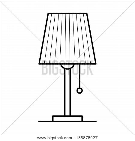 Table lamp, lighting for room, home furniture lineart design, hand drawn sketch of single object, interior concept, vector illustration on white background