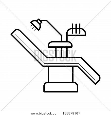 Dentist examination chair and equipment, contemporary workplace for practice, comfortable clinic area, hospital image, stomatology pictogram, health concept. Vector illustration