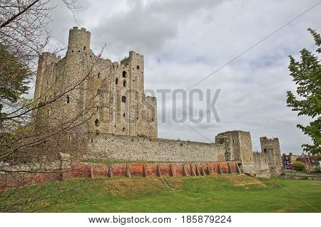 The Castle with Spring colors and cloudy sky in Rochester, UK