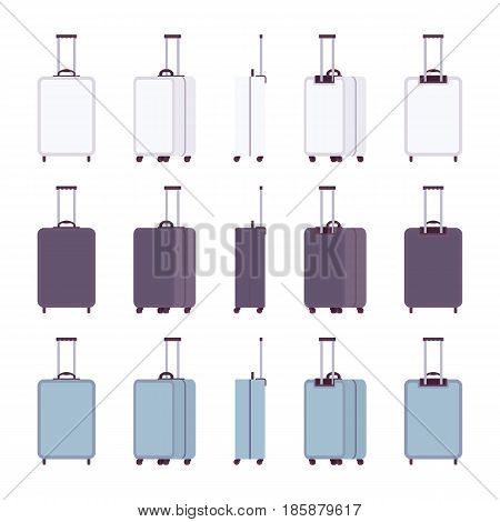 Modern luggage four wheel cabin hard suitcase set, durable accessory, quality bag for perfect journey in white, blue color. Vector flat style cartoon illustration, isolated, white background