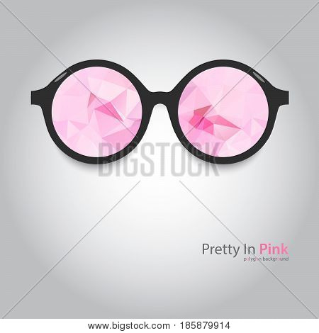 round glasses with pink lenses. Polygonal flogged. pink glasses. glasses with black frames on a gray background. polygon background