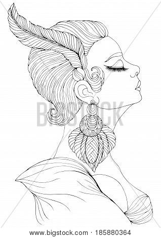 Vector hand drawn portrait in profile of elegant lady in Art Deco. Girl with a feather in a short hairstyle and a big earring. Decorated Coloring Page A4 size.