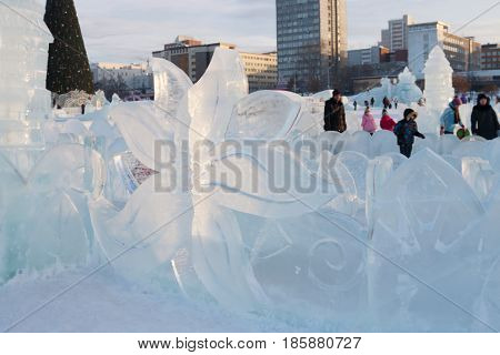 PERM RUSSIA - JAN 18 2017: Perm Ice Town 2017 Ekosad - largest in Russia at day