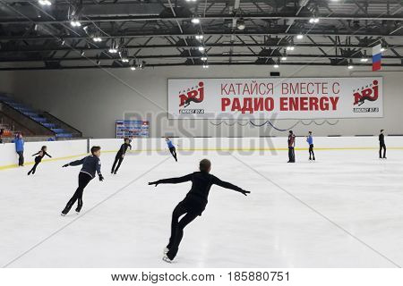 PERM RUSSIA - JAN 10 2017: Juniors skates in Sports Palace Eaglet In Sports Palace Eaglet first Youth Figure Skating School was opened in Perm in 1985