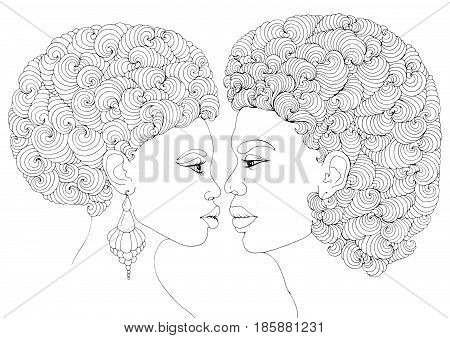 Vector hand drawn love kissing couple African American girl and the guy. Two human with magnificent curly afro hairstyle look into each other's eyes. Coloring  page Valentine's day