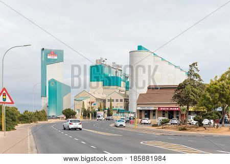 MALMESBURY SOUTH AFRICA - MARCH 31 2017: Silos and a mill in Malmesbury a town in the Swartland area of the Western Cape Province