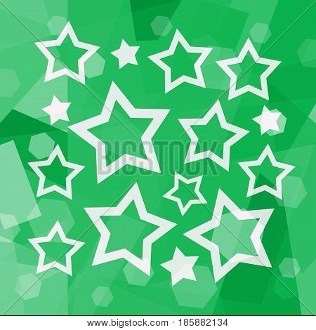White stars on a bright green background