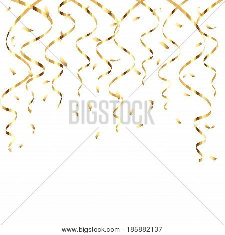 Shine festive decoration golden streamers and confetti on white background, illustration.