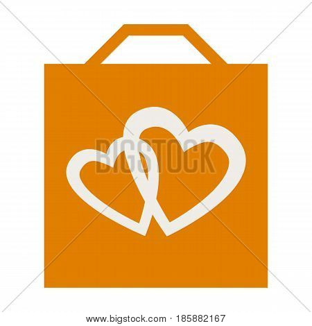 Shopping bag with romantic love hearts isolated on white background