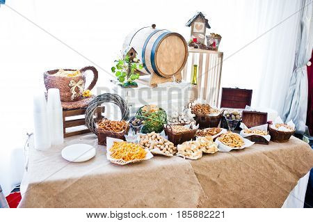 Wedding Reception Catering Table With Different Snaks.